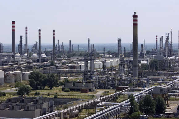 A view of the Hungarian oil group MOL's main Danube refinery in Szazhalombatta.