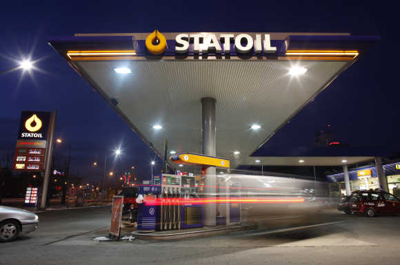 A Statoil petrol station is pictured in the evening in the centre of Warsaw, Poland.