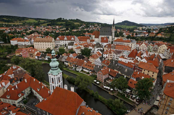 A view from the Castle tower shows the Unesco protected medieval city of Cesky Krumlov in Czech Republic.