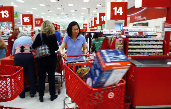 Shoppers checkout at a Target store in Virginia.
