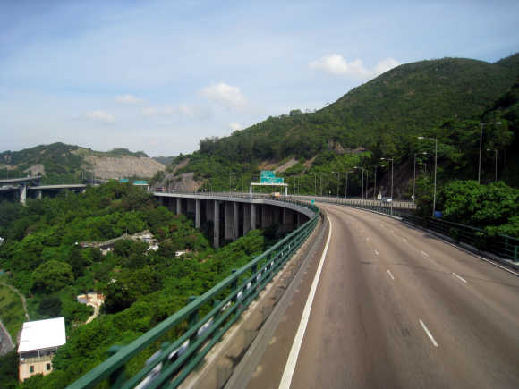 A view of the Tuen Mun Road Ting Kau Section.