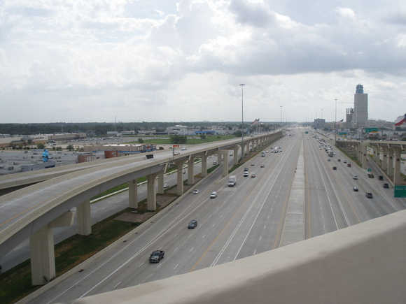A view of the 'Katy Freeway' in Houston.