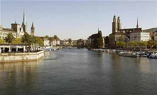 A general view shows the city of Zurich and the Limmat River