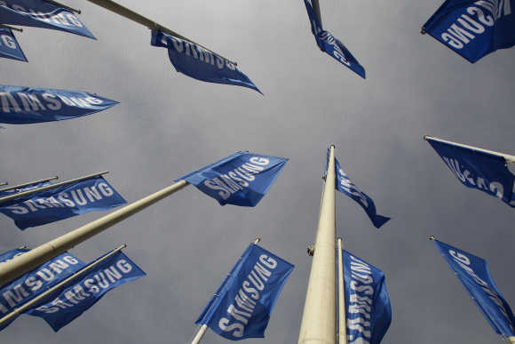 Samsung flags are set up at main entrance to Berlin fair ground.