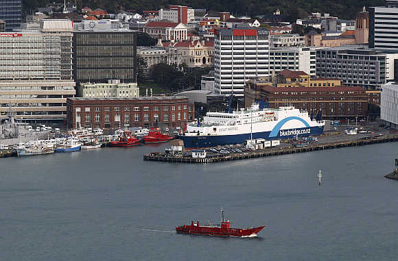 The Bluebridge Cook Strait Ferry is docked at Wellington Harbour, New Zealand.
