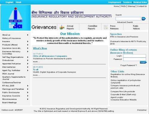 A snapshot of Irda website