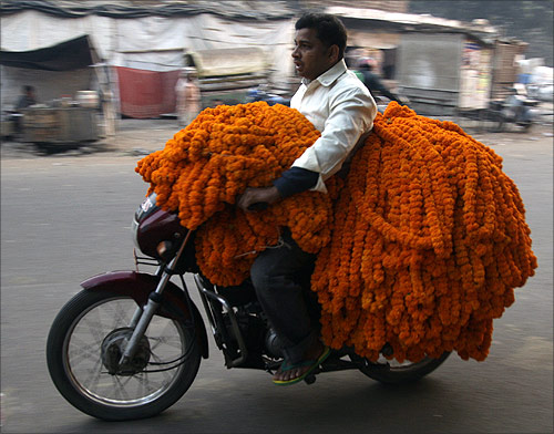 A vendor transports garlands of marigold flowers on his motorcycle to sell at a market in Allahabad.
