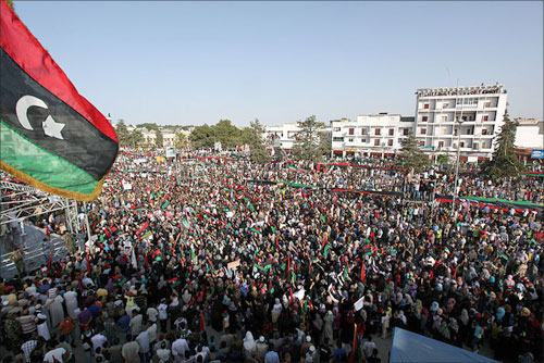 Mass demonstration in Bayda, Libya.