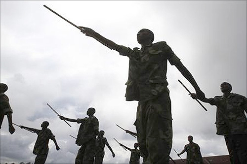 Recruits of the Congolese Revolutionary Army march during military training in Rumangabo military camp, Democratic Republic of Congo.