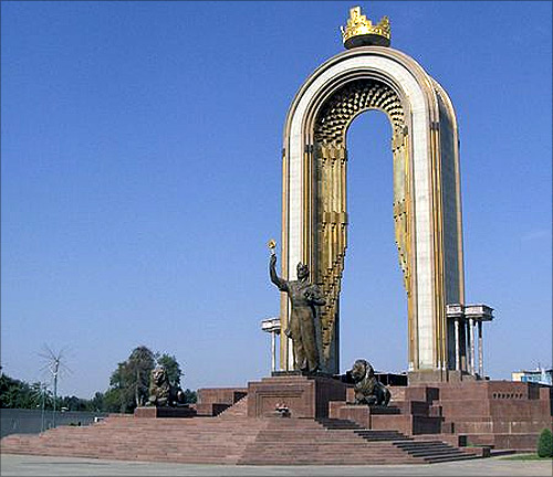 Ismoil Somoni monument in Dushanbe.