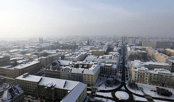 Snow-covered city centre of the North Moravian town of Ostrava in the Czech Republic.