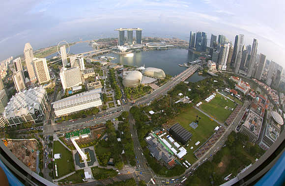 An aerial view of Marina Bay and Central Business District in Singapore.
