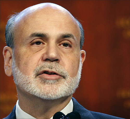 US Federal Reserve Chairman Ben Bernanke speaks to the Economic Club of New York in New York.