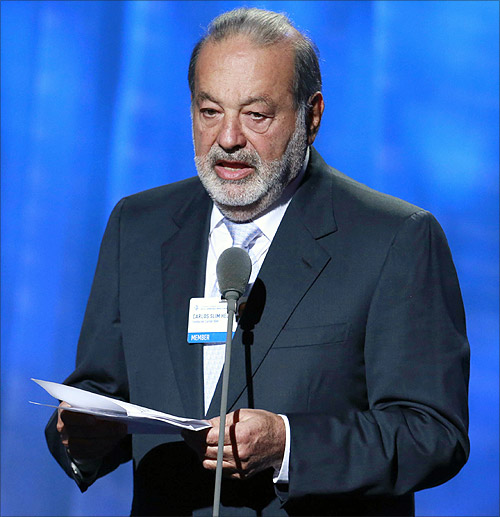 Businessman Carlos Slim Helu accepts a 'Leadership In Philanthropy
