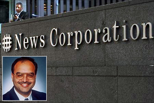 Inset of Bedi Ajay Singh against News Corporation building in New York