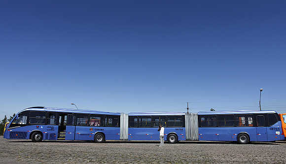 World's longest articulated bus, which has been manufactured by Volvo, in Brazil.