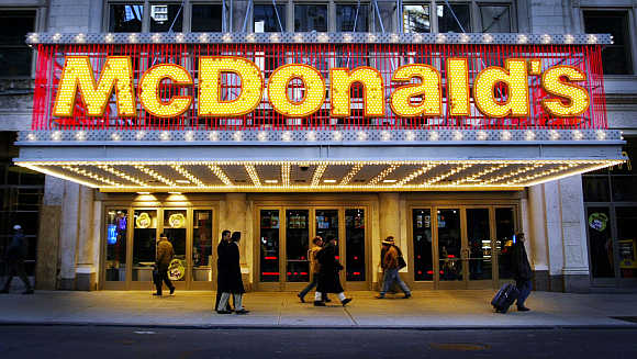 A McDonald's restaurant on 42nd Street in Times Square in New York.