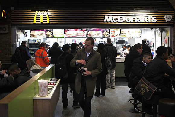 A Mcdonald's restaurant in London.