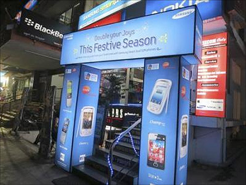 Samsung signs envelope a multi-brand mobile phone store in Bangalore.