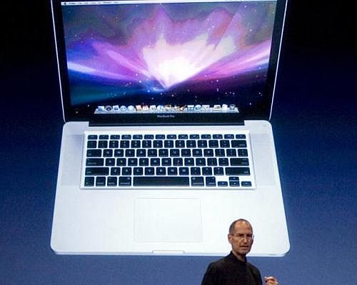 Late Apple CEO Steve Jobs at MacBook Air launch event