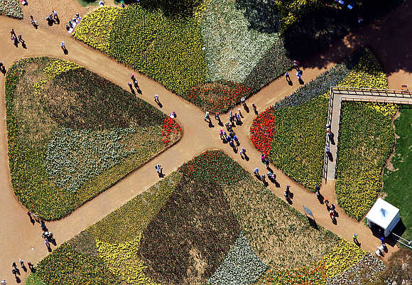 Tourists walk on pathways through the Floriade flower festival in Canberra.