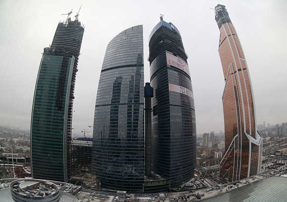 A view of the Moscow International Business Center and the Mercury City Tower.