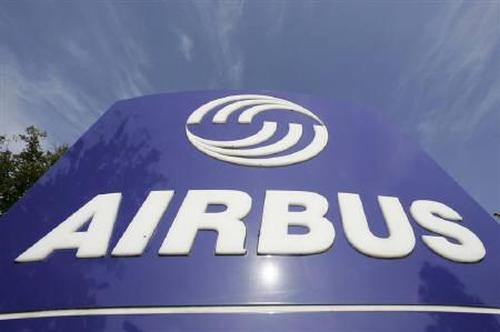 The Airbus company logo is pictured at the main entrance of the Airbus facility in the northern German city of Stade