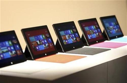 New Surface tablet computers by Microsoft are displayed at its unveiling