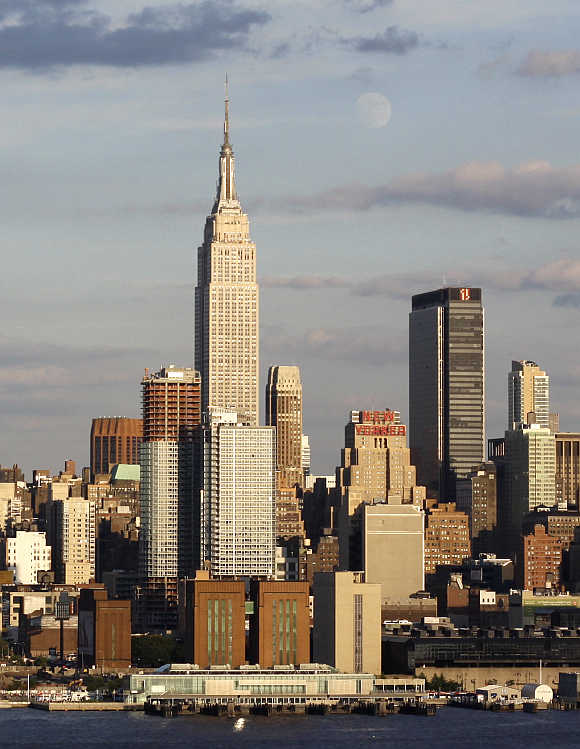Empire State Building, centre, in New York.