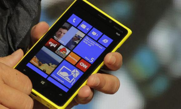A close-up photo of the new Lumia 920 phone with Microsoft's Windows 8 operating system