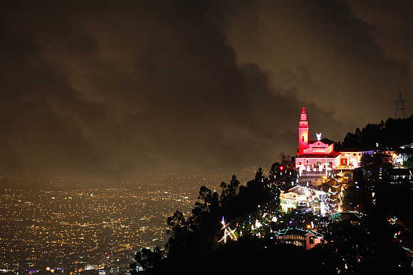 A view of illuminated Christmas decorations at Monserrate church in Bogota.