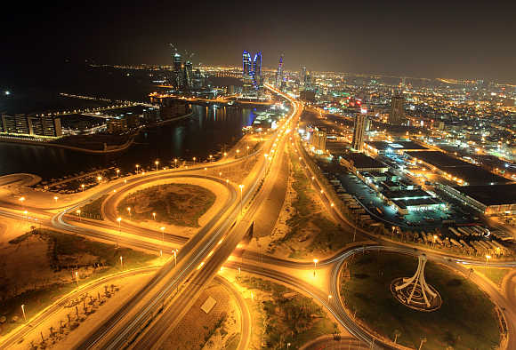 City view of Bahrain's capital Manama is seen from Abraj Al Lulu.
