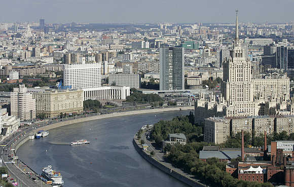 A view of the Moscow River in the centre of Moscow.