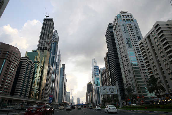 Motorists drive along Sheikh Zayed Road in Dubai.
