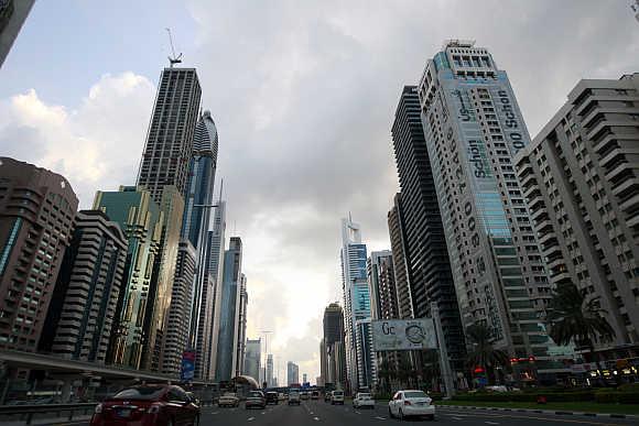 Motorists drive along Sheikh Zayed Road in Dubai.
