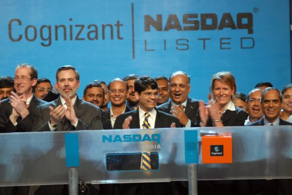 Cognizant vice chairman Lakshmi Narayanan and CEO Francisco D'Souza ring the Nasdaq Opening Bell from Cognizant Techno-complex in Chennai, India