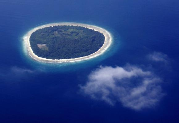 An aerial view shows an island in the Maldives
