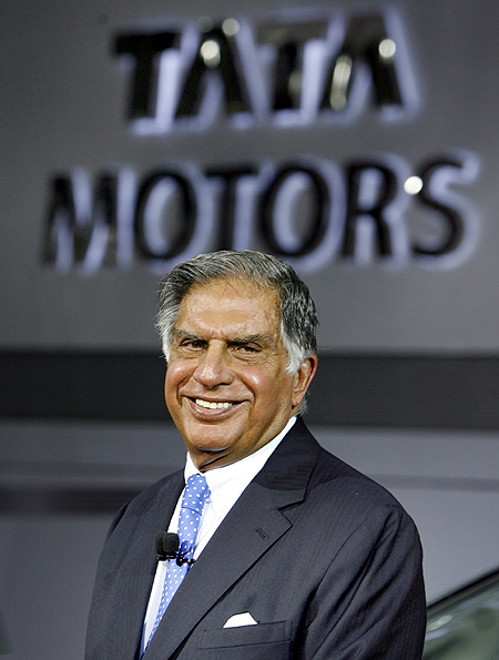 Ratan Tata smiles during the unveiling ceremony of Tata Motor's Aria at Auto Expo in New Delhi.