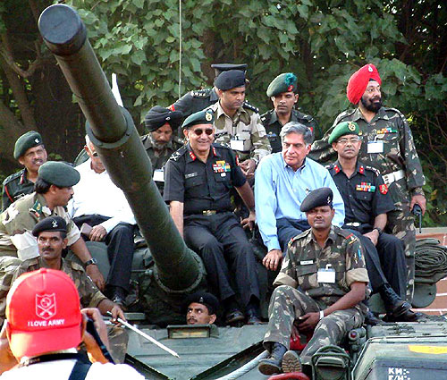 Ratan Tata at Know Your Army exhibition at Shivaji Park in Mumbai.