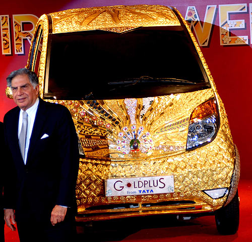 Ratan Tata unveils the world's first Goldplus car in Mumbai.