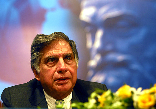 Ratan Tata addresses AGM of Tata Steel in Mumbai.
