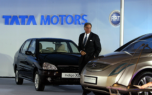Ratan Tata at the Auto Expo in New Delhi.