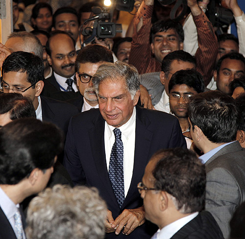 Ratan Tata leaves the venue after receiving the lifetime achievement award for management conferred by the All India Management Association in New Delhi.