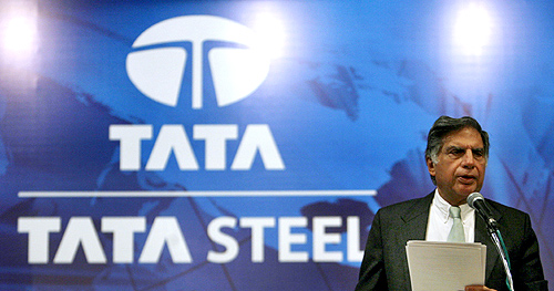 Ratan Tata speaks to Tata Steel shareholders during the Annual General Meeting in Mumbai.