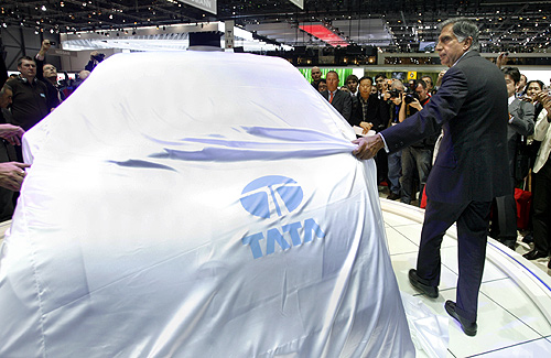 Ratan Tata unveils the Nano in Geneva, Switzerland.
