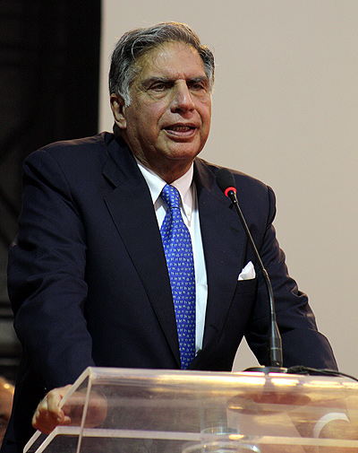 Ratan Tata addresses the two-day Vibrant Gujarat Global Investors Summit 2009 in Ahmedabad.
