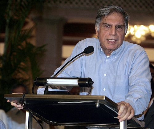 Ratan Tata at a news conference in Kolkata.