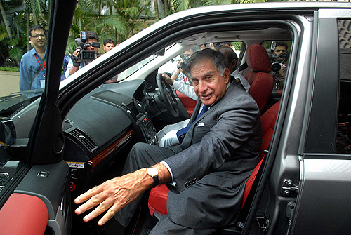 Ratan Tata at the launch of Jaguar and Land Rover cars in Mumbai.