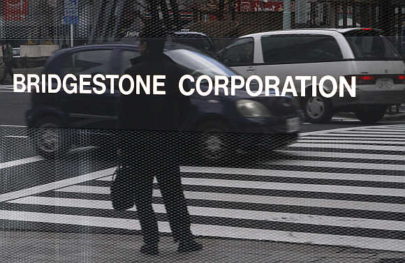 A signboard of Bridgestone Corp at the company's headquarters in Tokyo.