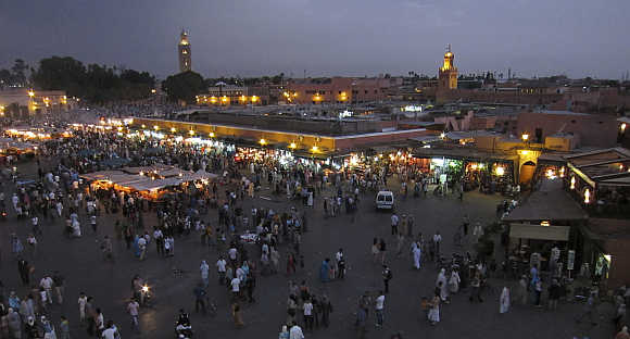 A view of Djemaa El Fna Square in Marrakesh.